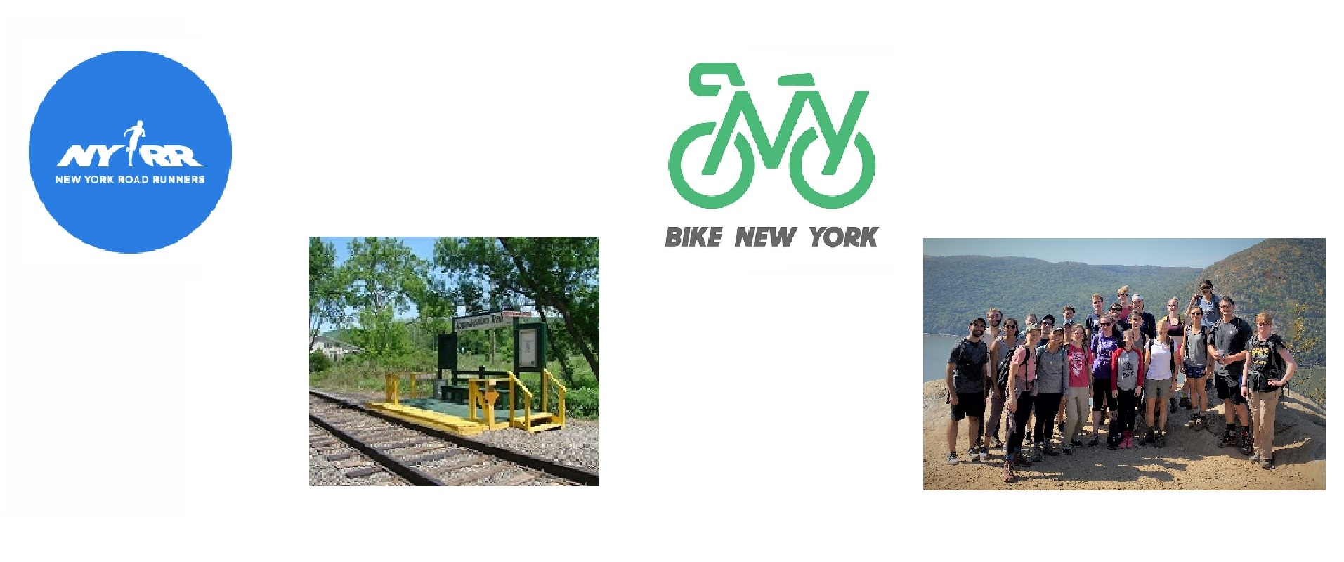 NYRR and Bike NY Logos with MTA AT and MD-PhD Hike Picutres
